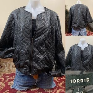 Torrid Black Quilted Vegan Bomber Jacket